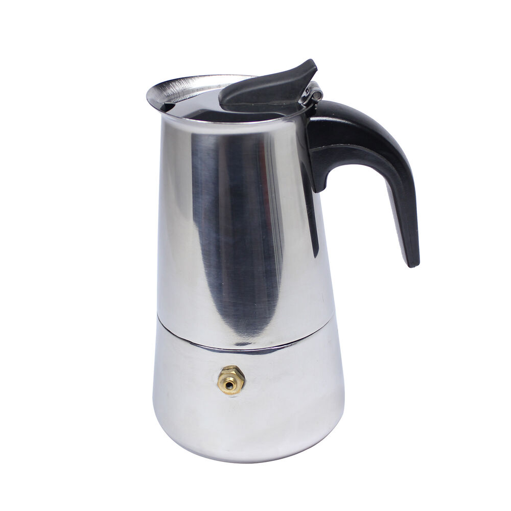 4 cup stainless steel italian moka express coffee latte maker pot hj360b ebay. Black Bedroom Furniture Sets. Home Design Ideas