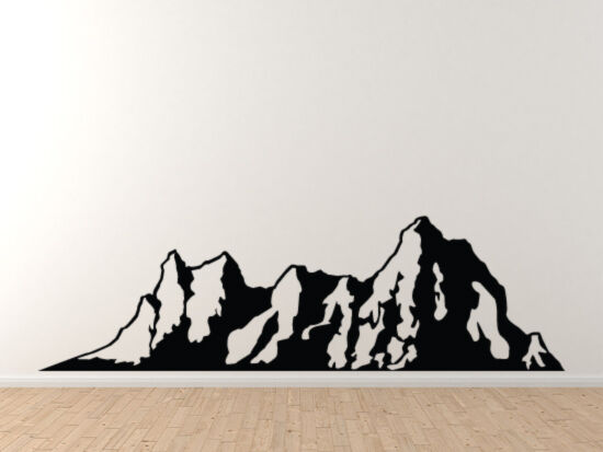 landscape decor mountain range silhouette shadow version 3 vinyl wall decal ebay. Black Bedroom Furniture Sets. Home Design Ideas
