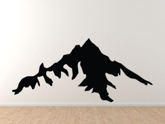 landscape decor mountain range silhouette shadow version 5 vinyl wall decal ebay. Black Bedroom Furniture Sets. Home Design Ideas