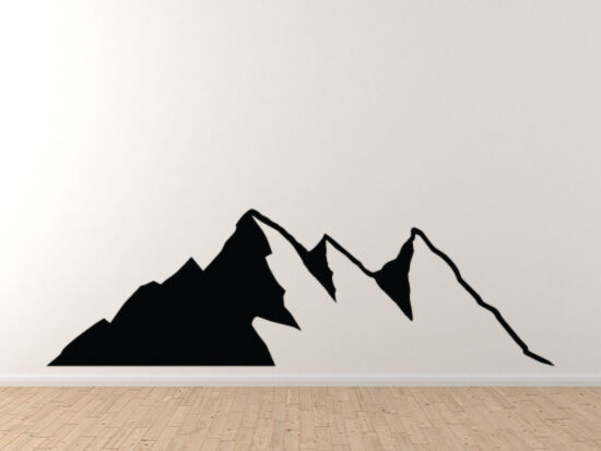 landscape decor mountain range silhouette shadow version 6 vinyl wall decal ebay. Black Bedroom Furniture Sets. Home Design Ideas