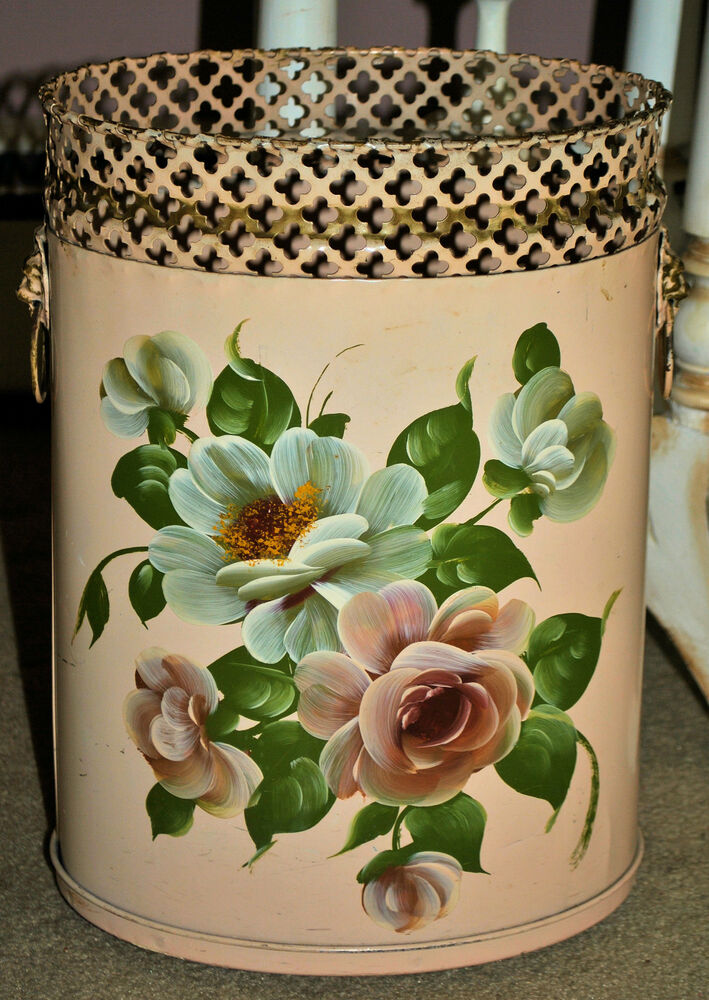 Omg Vintage Chic Pink Hp Roses Tole Trash Can Waste