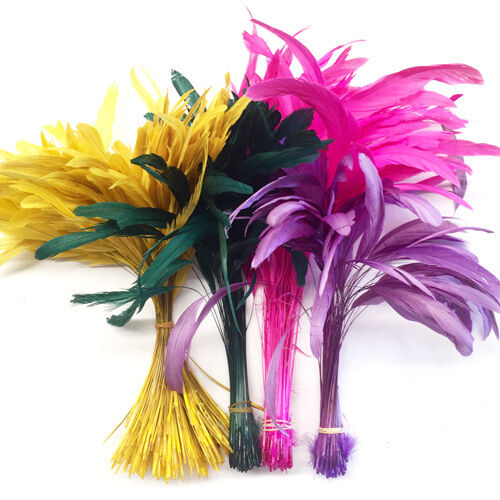 10 stripped coque tail feathers craft millinery art for Where can i buy feathers for crafts