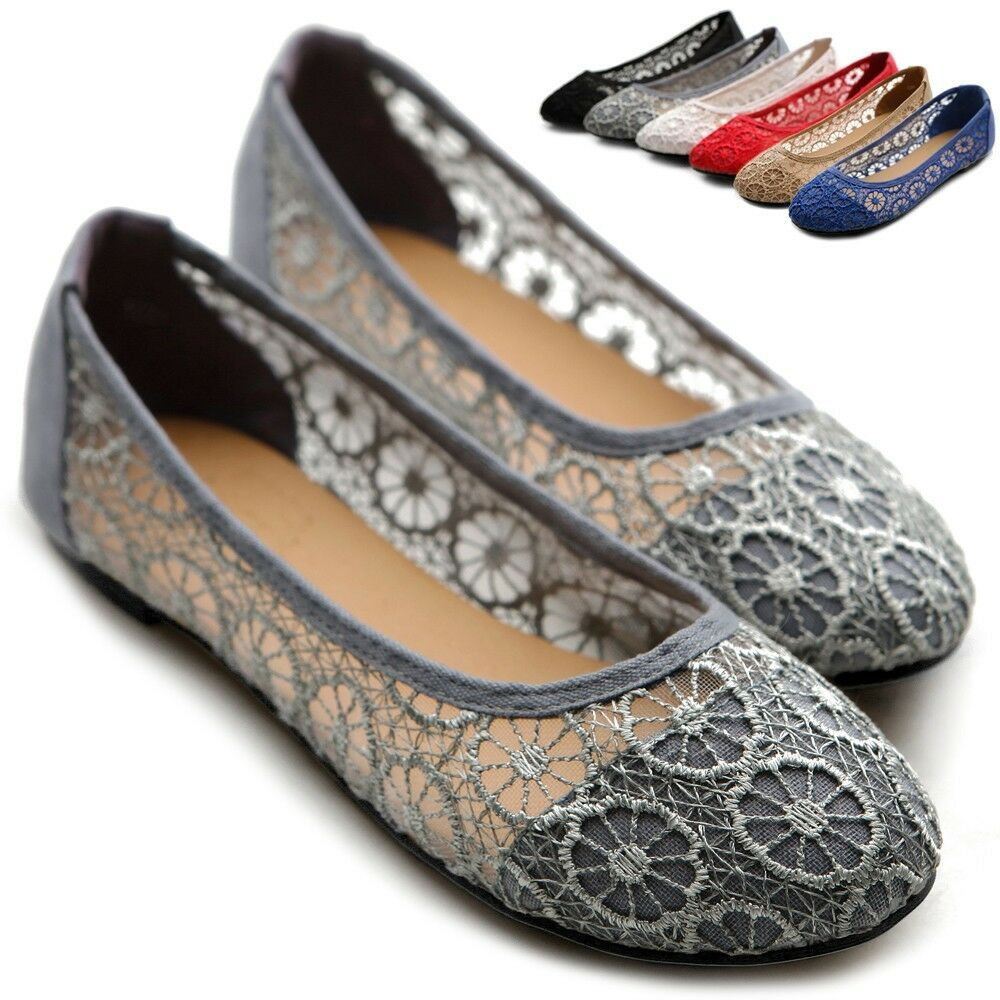 ollio Womens Floral Lace Ballet Shoes Breathable Flats