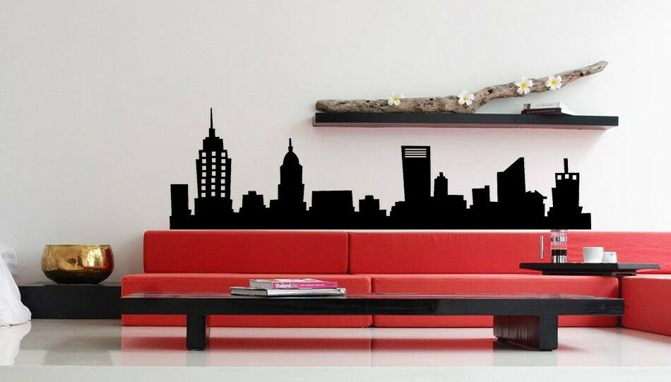 new york city nyc skyline mural vinyl wall art decal sticky sticker decor 48 ebay