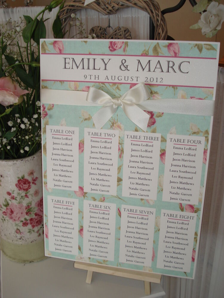 country cottage shabby chic a3 wedding table seating plan
