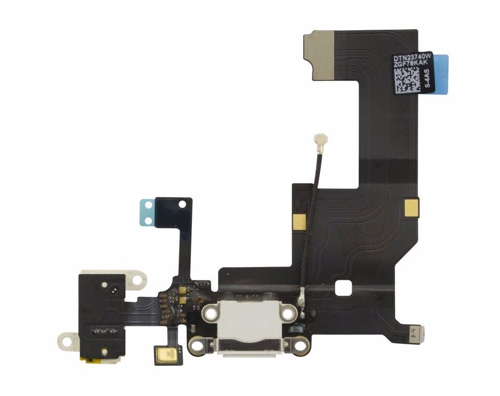 iphone 5 charging port dock connector flex ribbon cable replacement white a1428 ebay. Black Bedroom Furniture Sets. Home Design Ideas