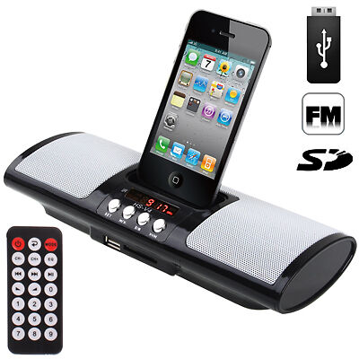enceinte station d 39 acceuil portable iphone 4 4s 3gs 3g ipod cle usb sd r veil ebay. Black Bedroom Furniture Sets. Home Design Ideas