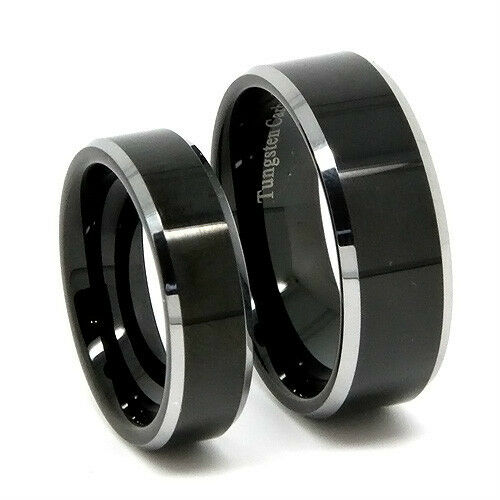 Matching Tungsten Wedding Band Set Polished Black His 8mm