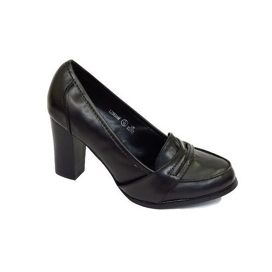 office work black block heeled loafers court shoes
