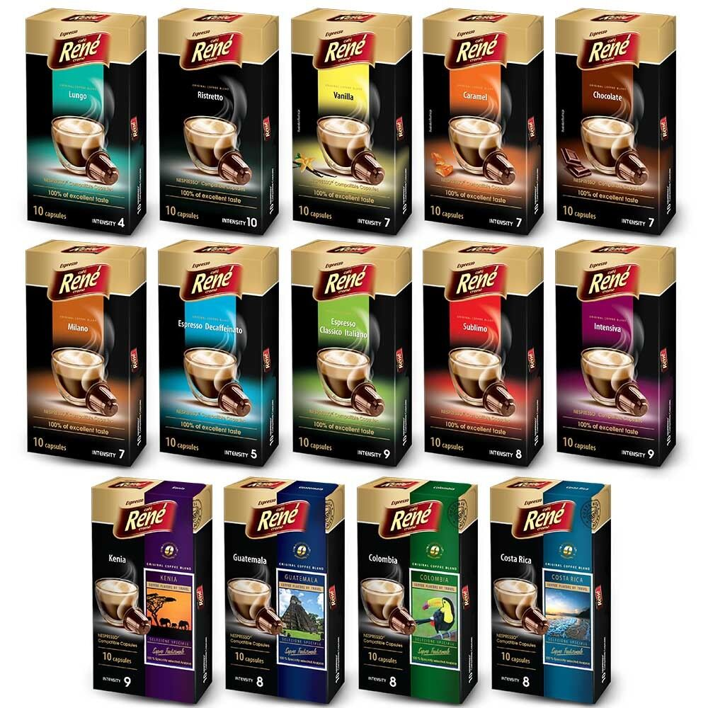 60 rene compatible nespresso coffee capsules pods 12 flavours inc chocolate ebay. Black Bedroom Furniture Sets. Home Design Ideas