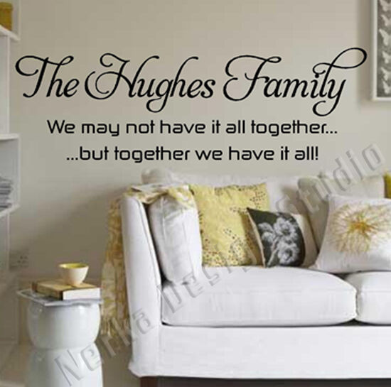 wall quotes the hughes family wall stickers personalised wall