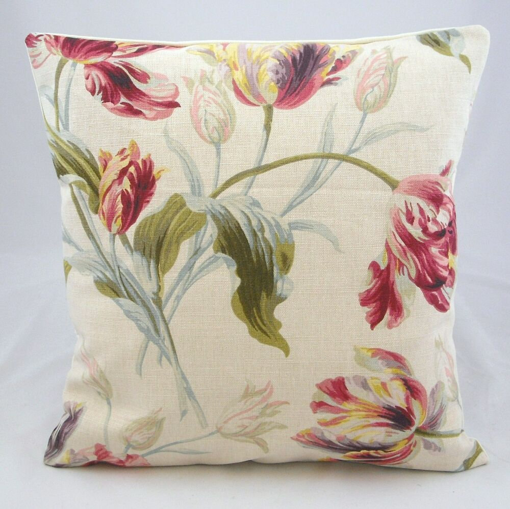 cushion cover handmade in uk laura ashley gosford floral fabric ebay. Black Bedroom Furniture Sets. Home Design Ideas