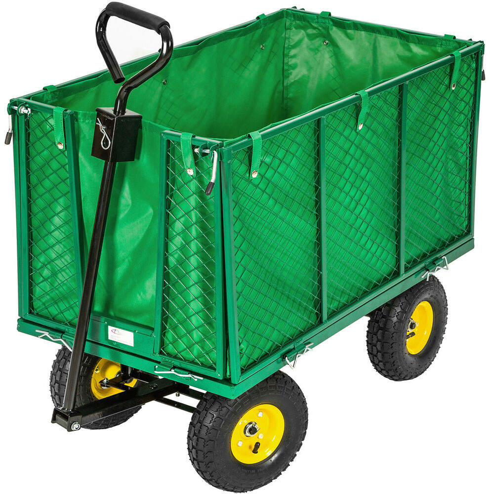 Xxl heavy duty wheelbarrow garden mesh cart trolley for Brouette de jardin 4 roues