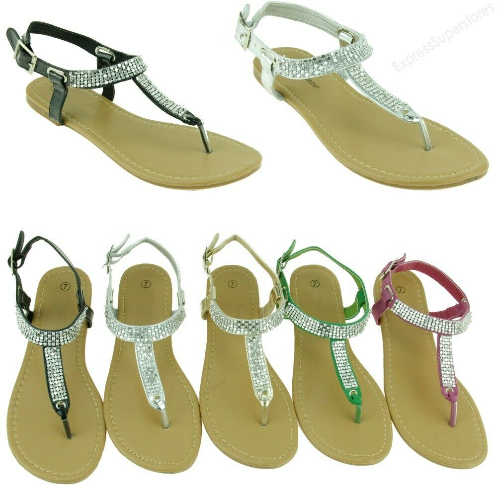 c10f746449c99a New Women Sandal Flats Rhinestone Style Gladiator Fashion Thongs Bling  Sandals