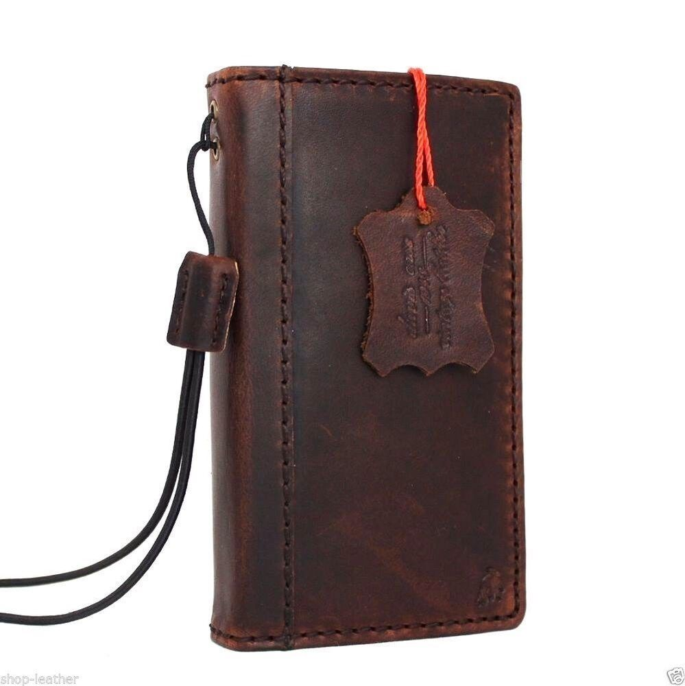 Book Cover Case : Genuine vintage leather case for iphone s cover pouch