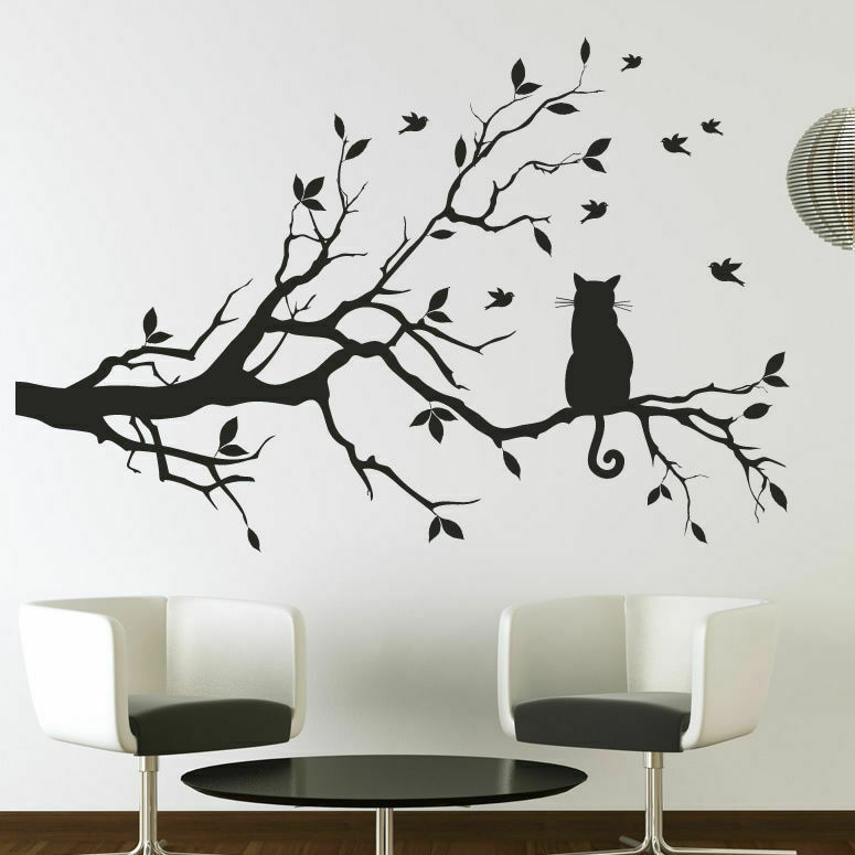 Cat On A Long Tree Branch Wall Art Sticker As10003 Ebay