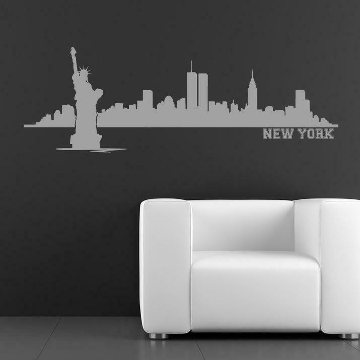 new york skyline with text wall sticker as10010 ebay