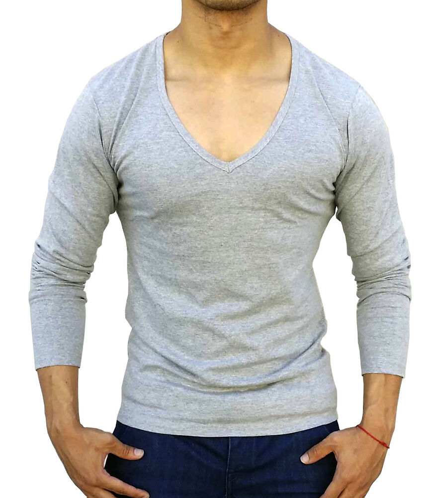 New mens plain grey deep v neck long sleeve t shirt slim for Mens slim fit long sleeve t shirts