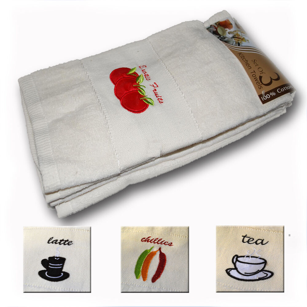 kitchen towel designs luxury embrpidered kitchen tea towels pack of 3 in 3 3378