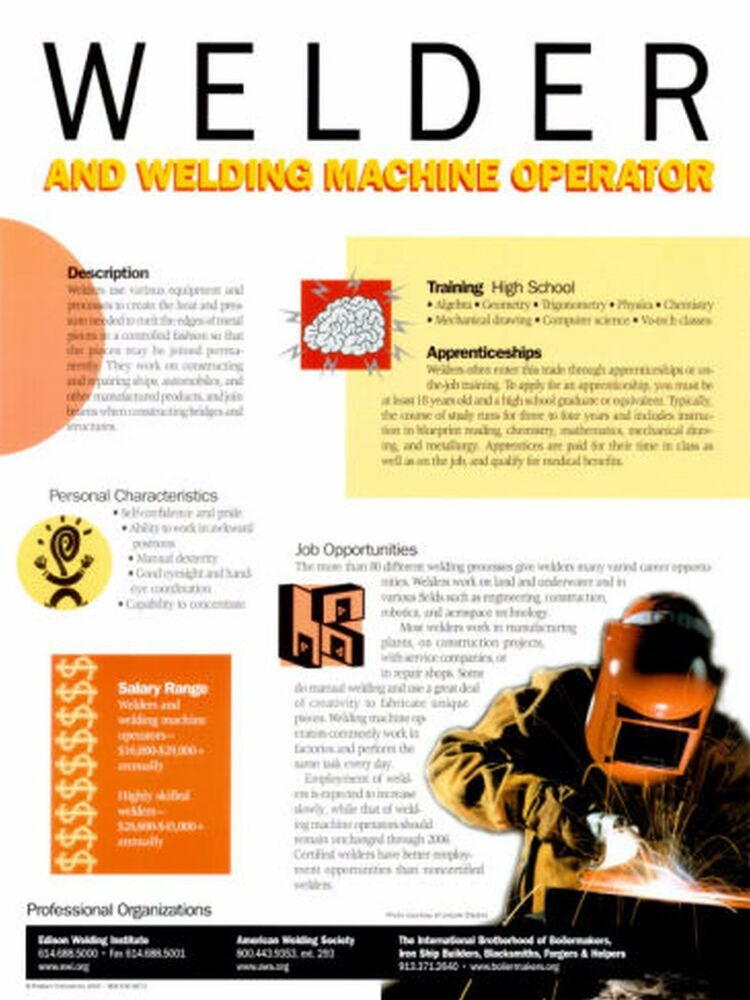 "SAFETY POSTER~Welder Machine Operator 16x24"" Original Safety ..."