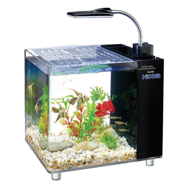 15l mini aquarium desk fish tank with filter and led. Black Bedroom Furniture Sets. Home Design Ideas