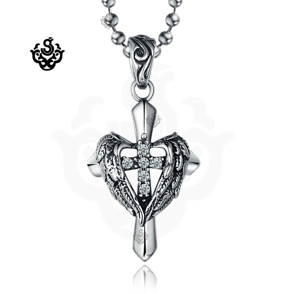 Silver Cross Wings Clear Simulated Diamond Gothic Pendant Necklace Vintage Style Ebay