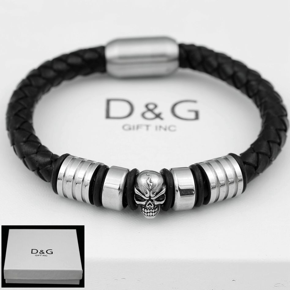 skull bracelet dg s 8 25 quot stainless steel black braided leather 2578