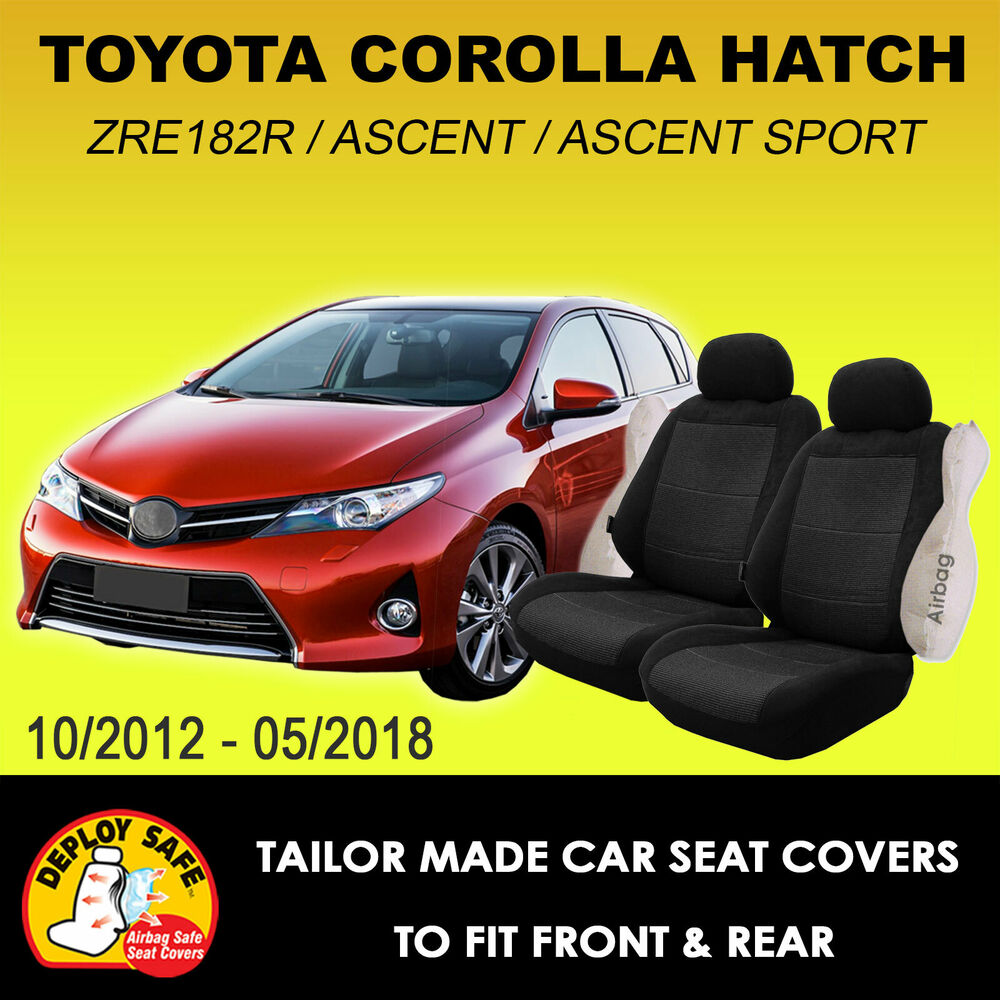 car seat covers for toyota corolla hatch zre182r front rear black 2012 current ebay. Black Bedroom Furniture Sets. Home Design Ideas