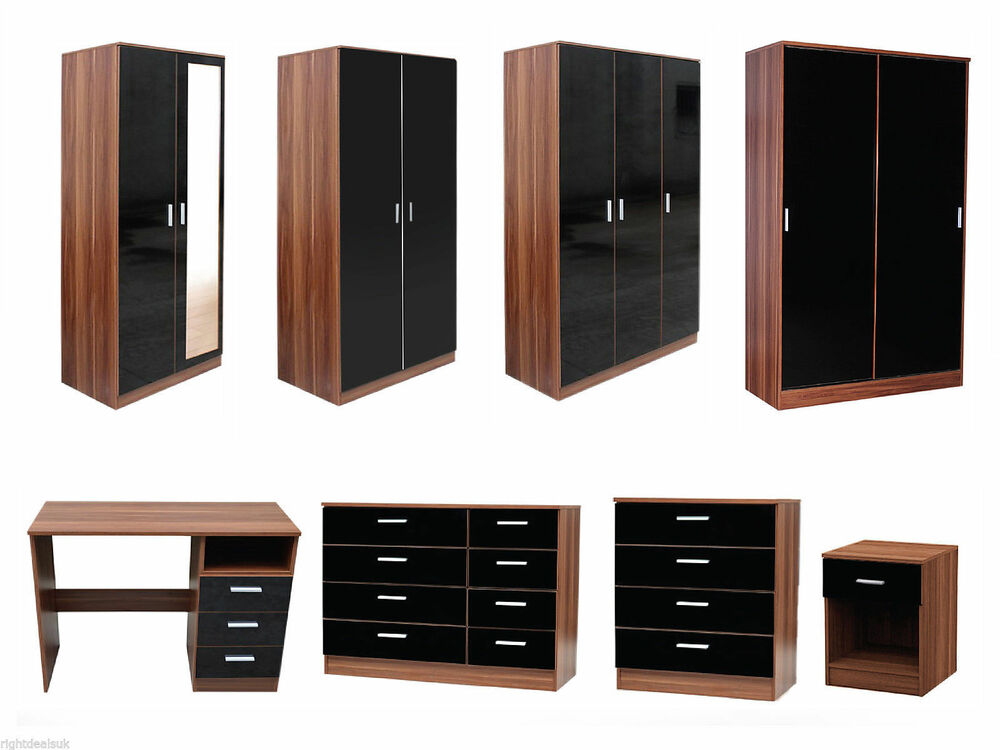 NEW Caspian High Gloss Black Walnut Bedroom Furniture Set Full