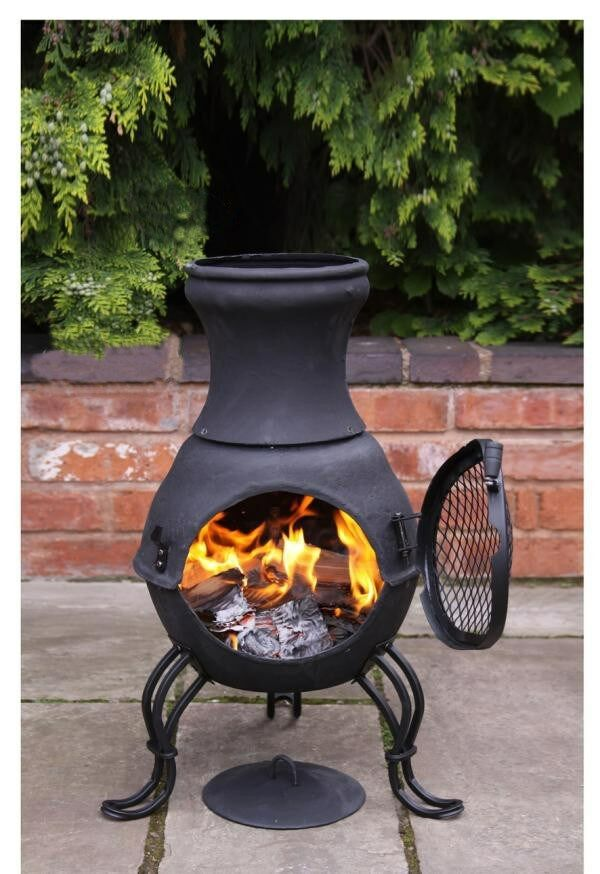 Cast iron chimenea chiminea garden heater wood burning for Wood burning stove for porch