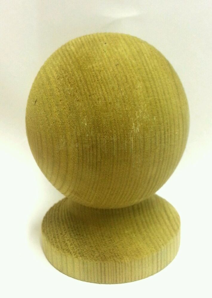 Green Treated Wooden Ball Finial For 3 Inch Fence Post Cap