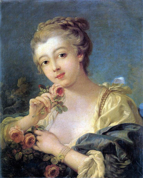 Oil painting francois boucher - Young Woman with a Bouquet ...