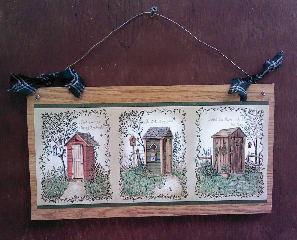 14 primitive bathroom wall hanging outhouse bath decor for Outhouse bathroom ideas