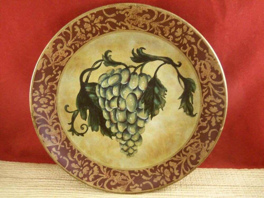 Ceramic Green Grape Fruit Vine Tuscan Design Collectible