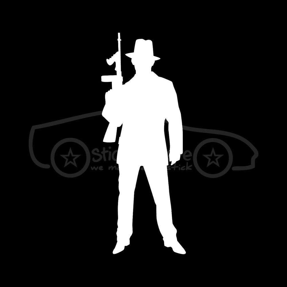 Details about gangster sticker retro crime decal mobster silhouette tommy gun gangsta mafia v1