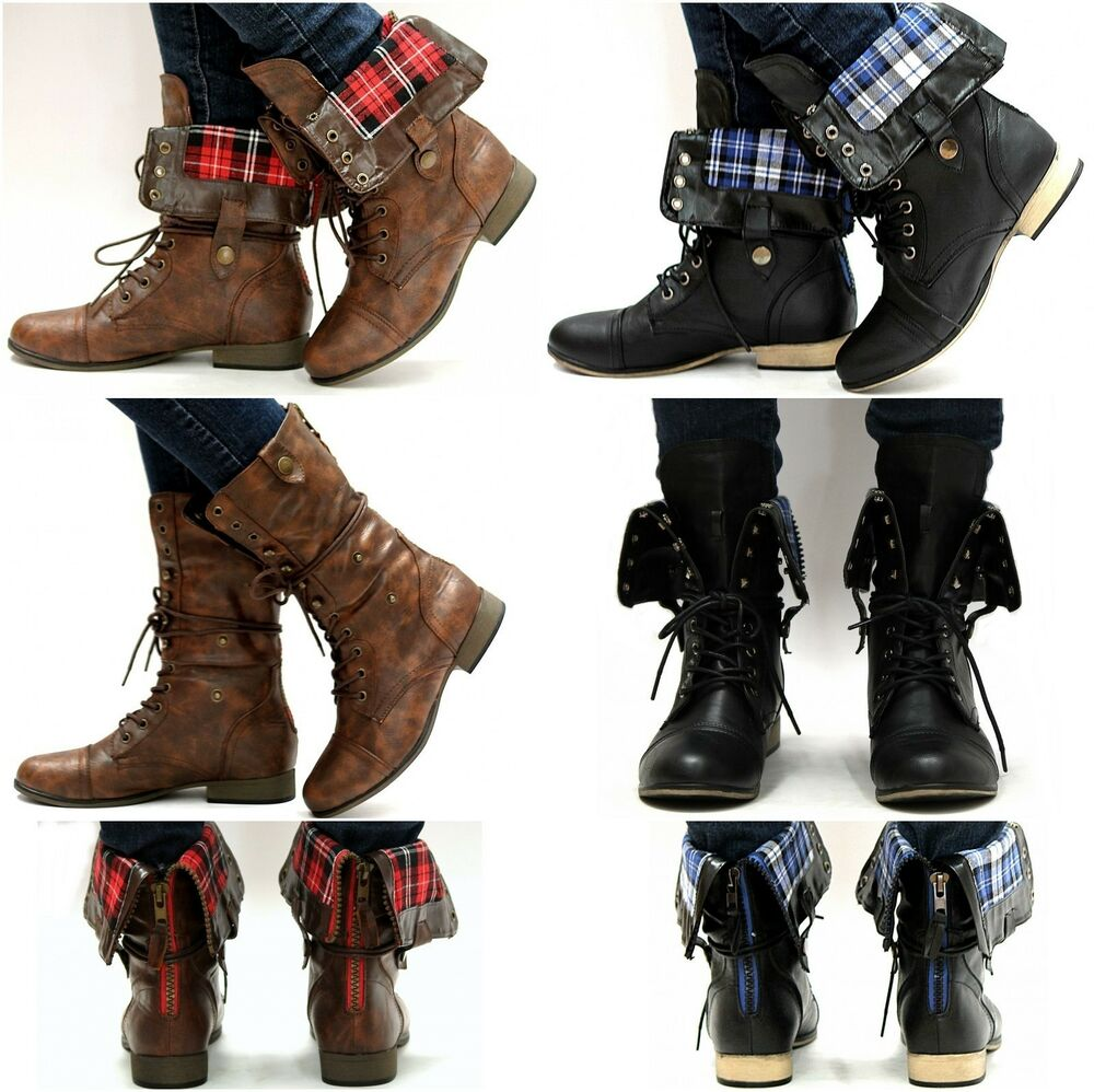 ... Women L8F Black Brown Lace Up Foldable Military Combat Boots   eBay