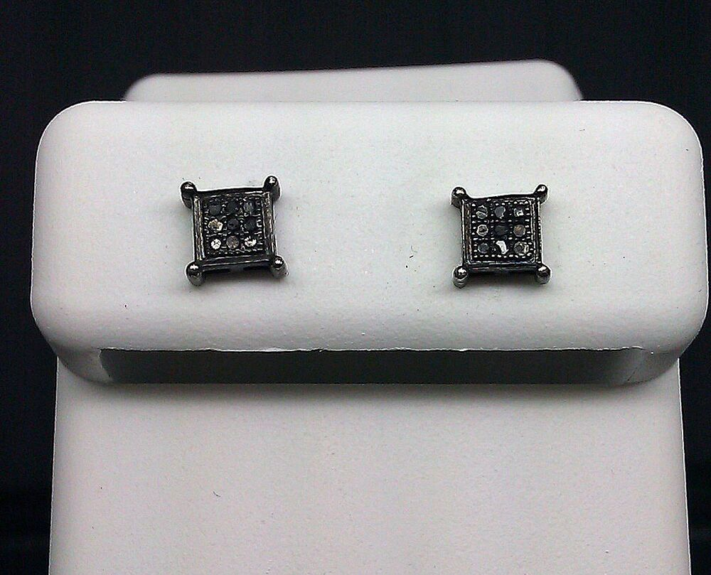 Real Black Diamonds Pave Men & Women Earring Screw Back kc sttings studs