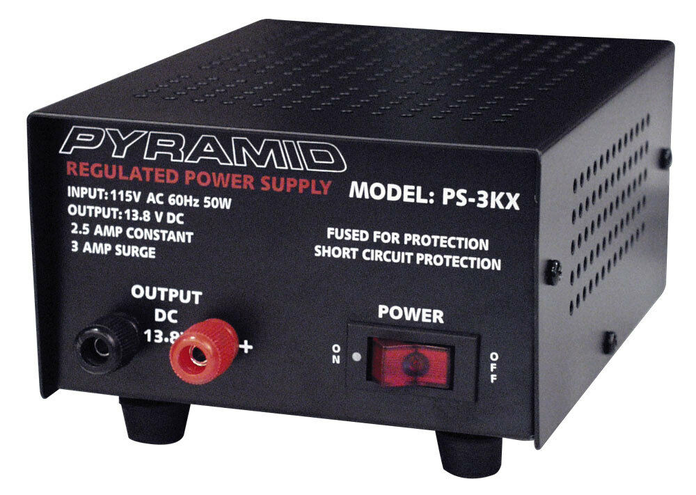 pyramid ps3kx 3 amp 12 volt dc power supply for phones cb ham radio scanners ebay. Black Bedroom Furniture Sets. Home Design Ideas