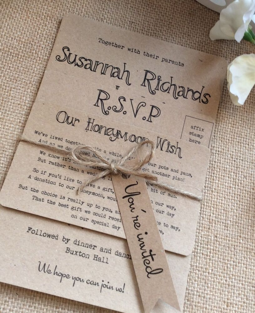 Vintage Wedding Invitations: 1 Rustic/Vintage/Shabby Chic 'kraft' Bundle Wedding