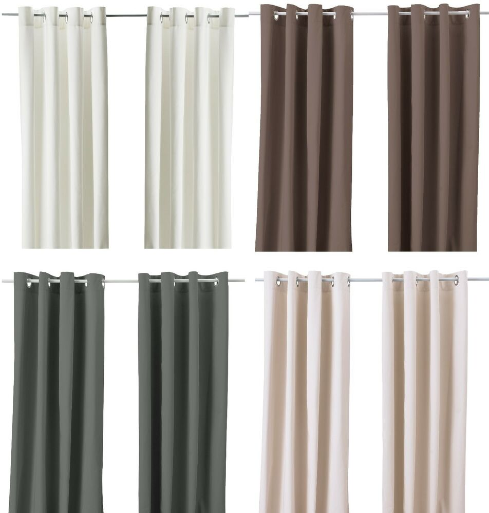 Ikea merete pair of curtains 2 panels brown purple beige for White curtains ikea