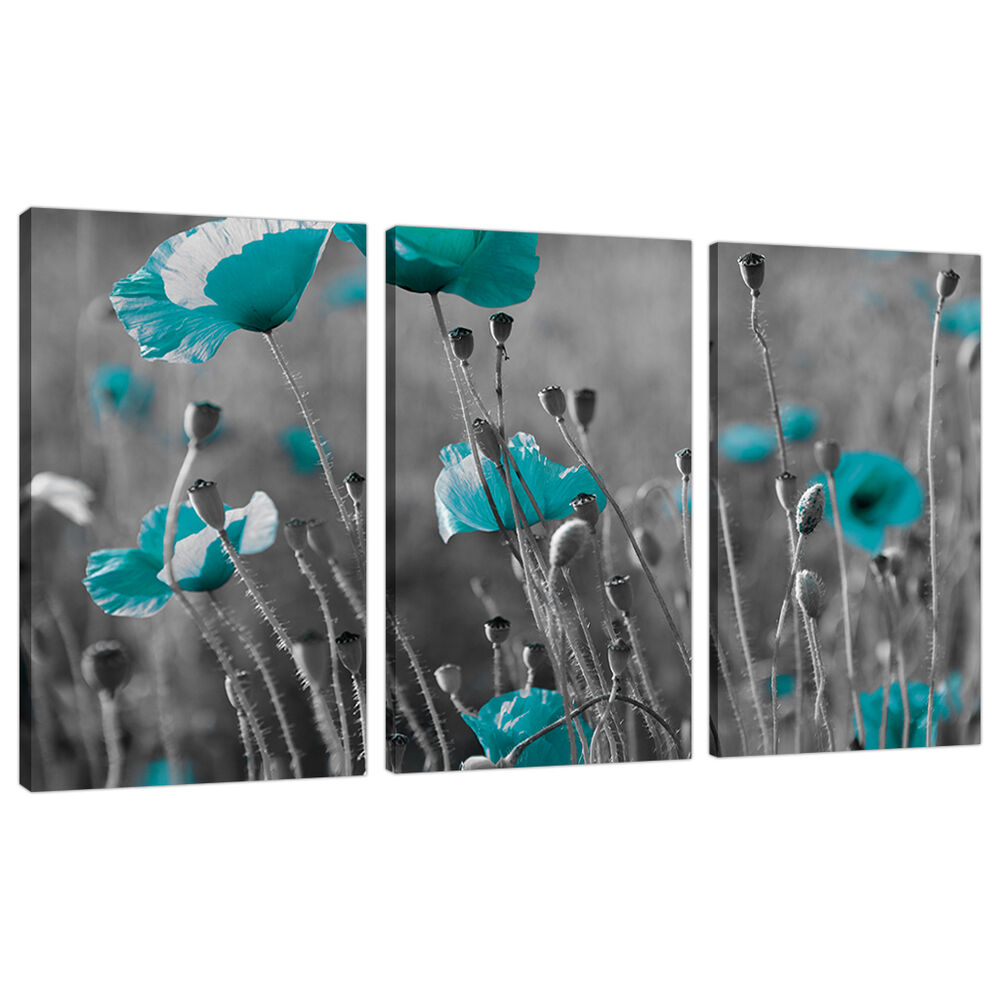 Set Of 3 Teal Blue Green Large Canvases Wall Art Prints Pictures 3139 EBay