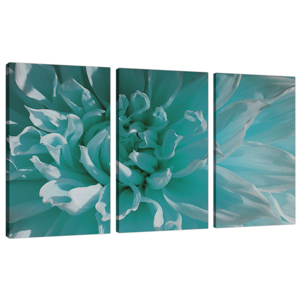 Set of three teal blue canvas prints pictures floral wall for Teal wall art