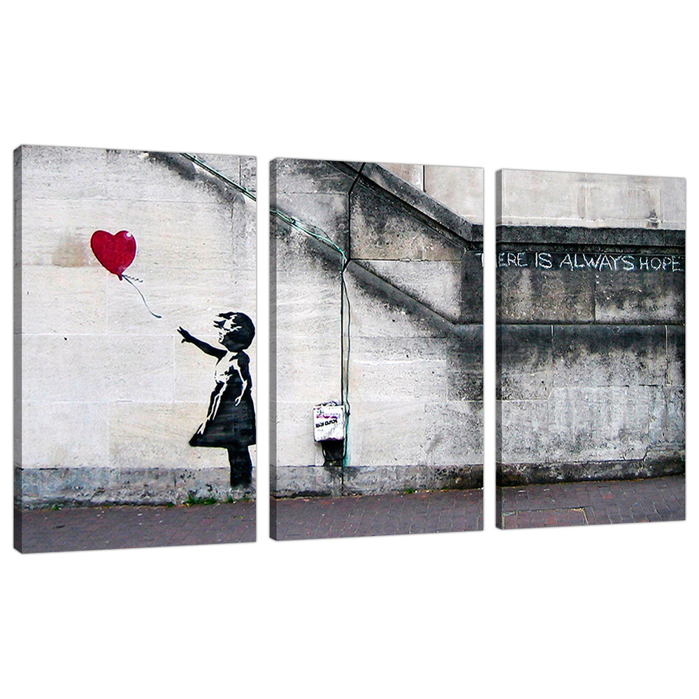 set of 3 large banksy canvas wall art prints uk red balloon girl 3050 5060327322440 ebay. Black Bedroom Furniture Sets. Home Design Ideas
