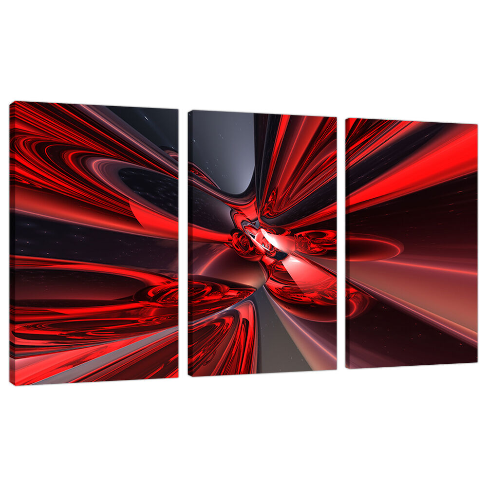 3 Piece Abstract Canvas Art Pictures Large Modern Red Wall ...