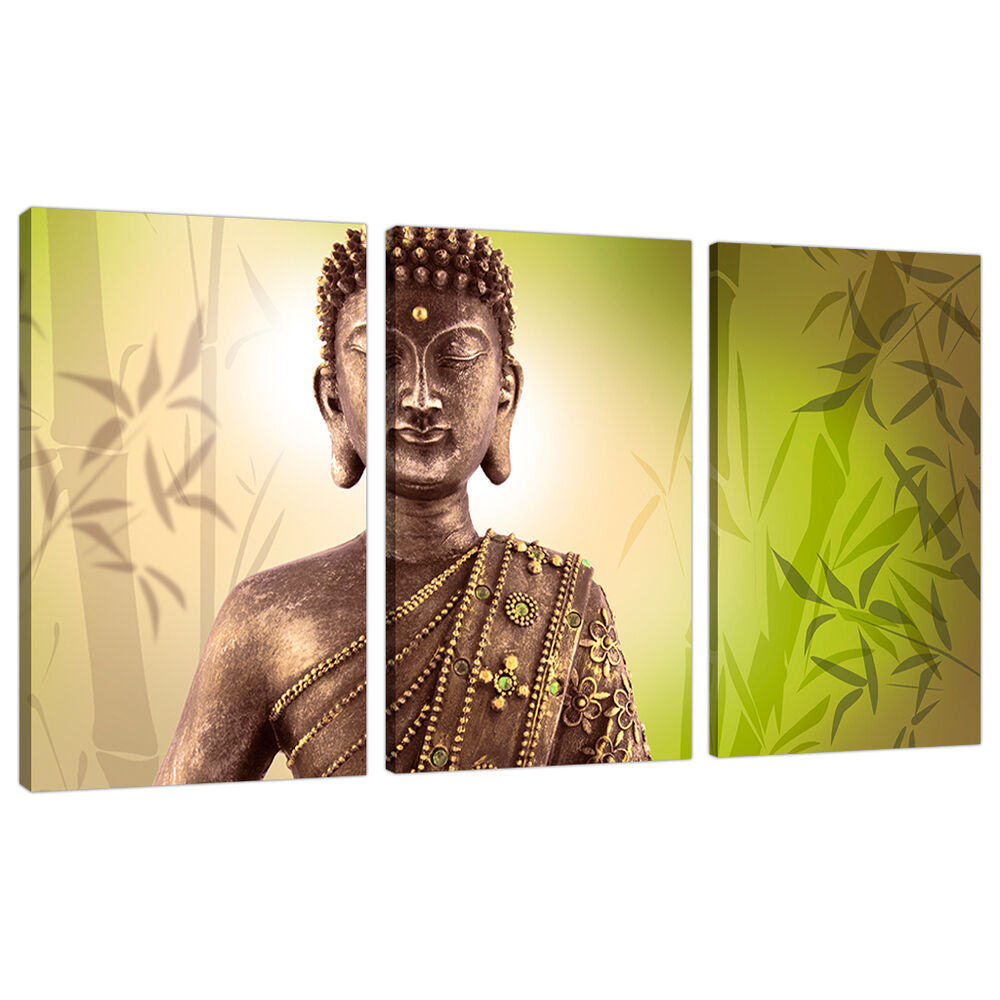 3 Part Buddha Canvas Pictures Lime Green Wall Art Bedroom Prints ...