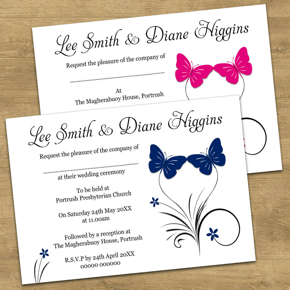 Butterfly Themed Wedding Invitations: Personalised Butterfly Wedding Invitations Day / Evening
