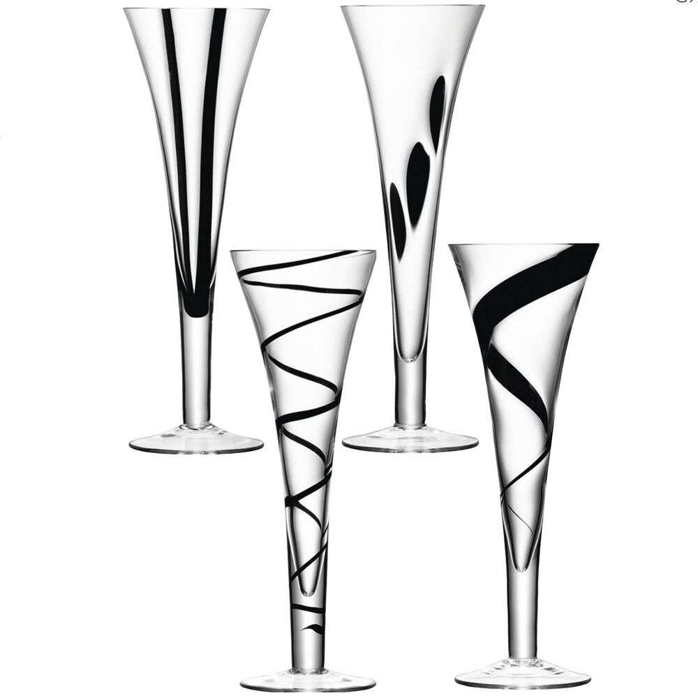lsa jazz champagne flutes assorted black set of 4 ebay. Black Bedroom Furniture Sets. Home Design Ideas