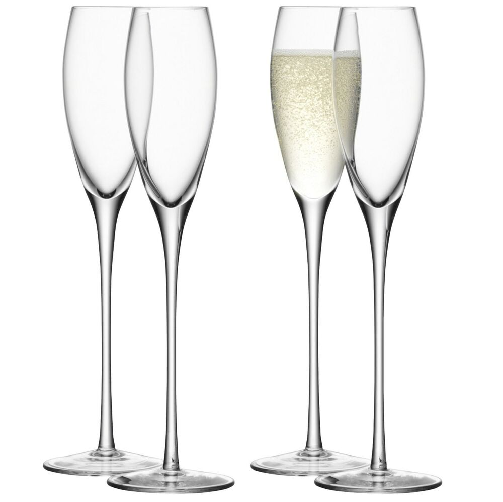lsa wine champagne flute clear set of 4 ebay. Black Bedroom Furniture Sets. Home Design Ideas