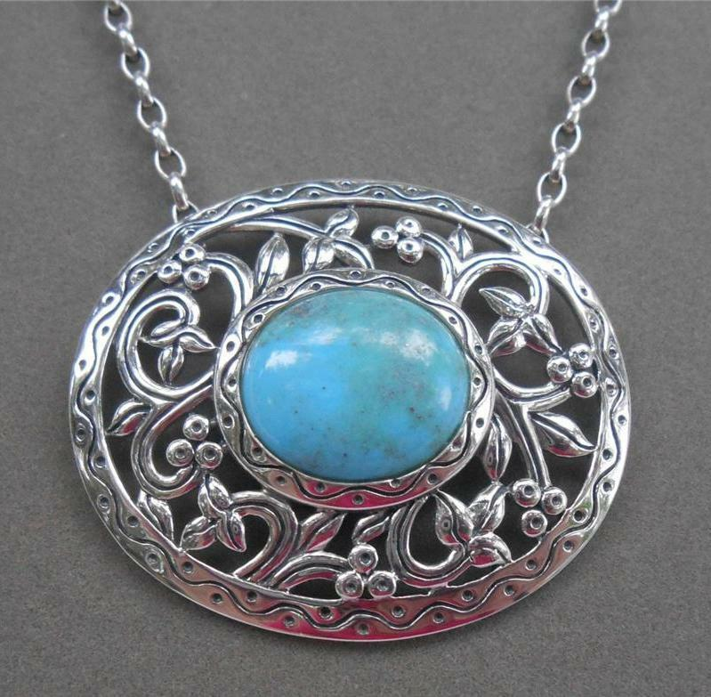Southwestern sterling silver turquoise openwork necklace for Southwestern silver turquoise jewelry