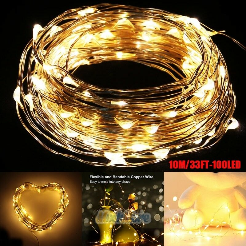 Warm White 10M 100 LED Copper Wire LED String Fairy Lights Lamp for Decoration eBay